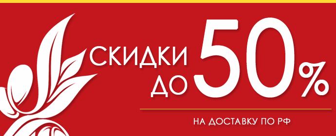 Скидки до 50% на доставку по всей России