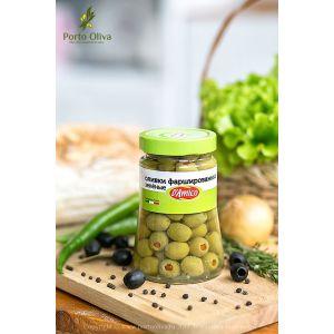 Оливки зелёные фаршированные красным перцем D'Amico, 480г