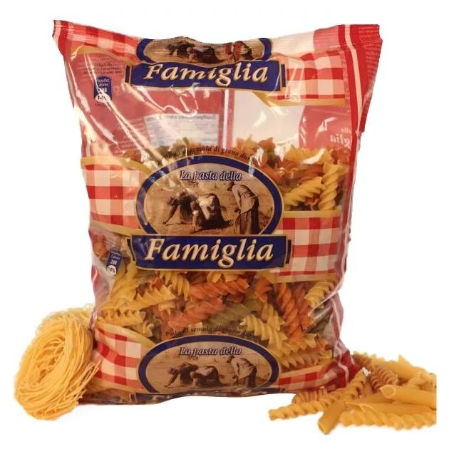 Макароны цветные Famiglia Fusilli Tricolori, 500г фото