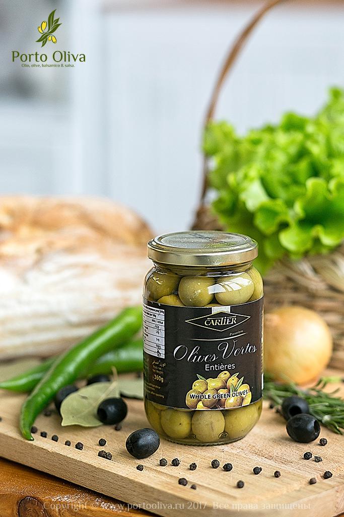 Оливки зелёные с косточкой Cartier 360г фото