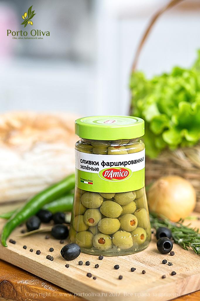 Оливки зелёные фаршированные красным перцем D'Amico 480г фото