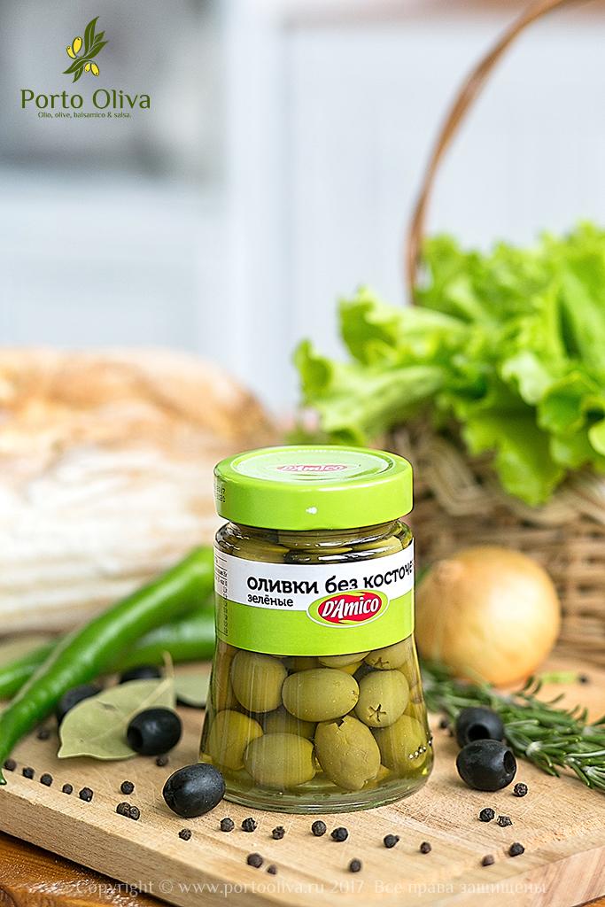 Оливки зелёные без косточки D'Amico 290г фото