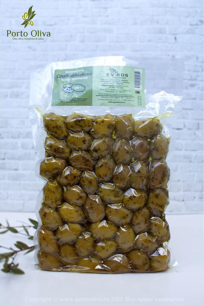 Оливки зелёные сорта Халкидики с косточкой EVROS, 250г