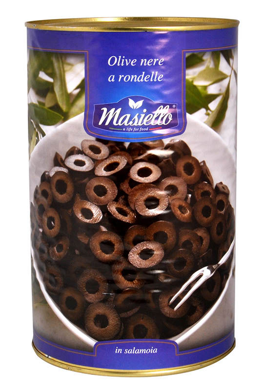 Оливки чёрные резанные Masiello 4кг