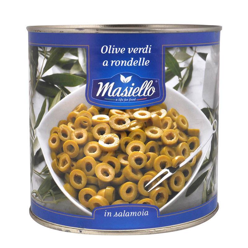 Оливки зеленые резанные Masiello 2.6кг