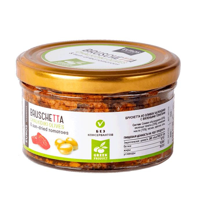Соус Брушетта с оливками и вялеными томатами EVROS, 150г